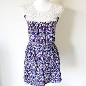 Forever 21 Embroidery Stretch Waist Dress